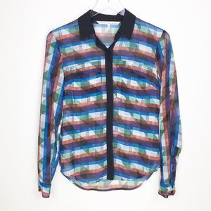 RACHEL ROY Sheer geometric roll sleeve blouse